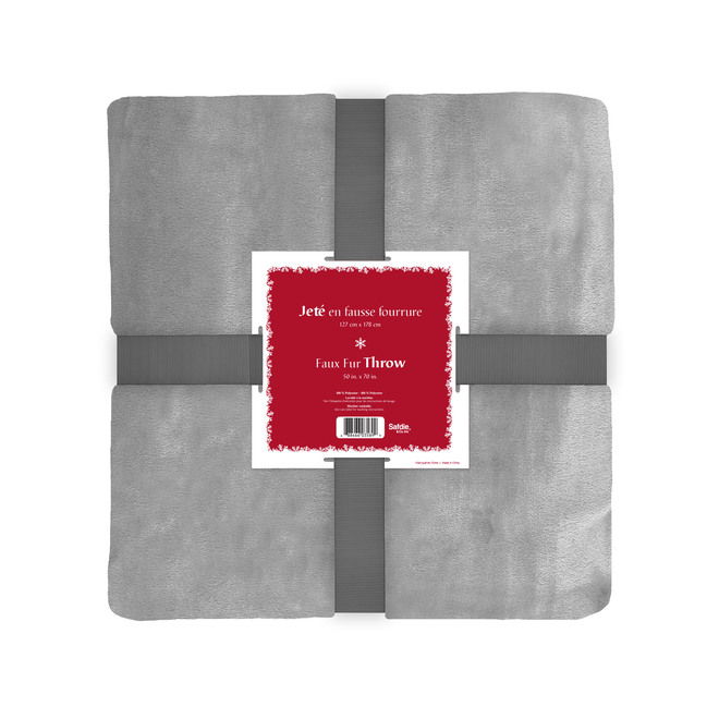 Holiday Living Christmas Throw - Plush - Polyester - 50-in x 60-in - Grey