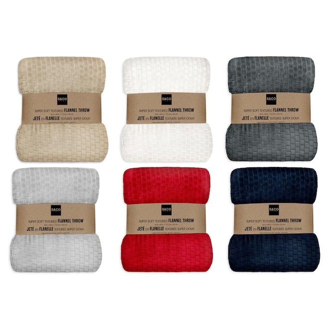 Fall Textured Flannel Throw - 50-in x 60-in - Polyester - Assorted Colours