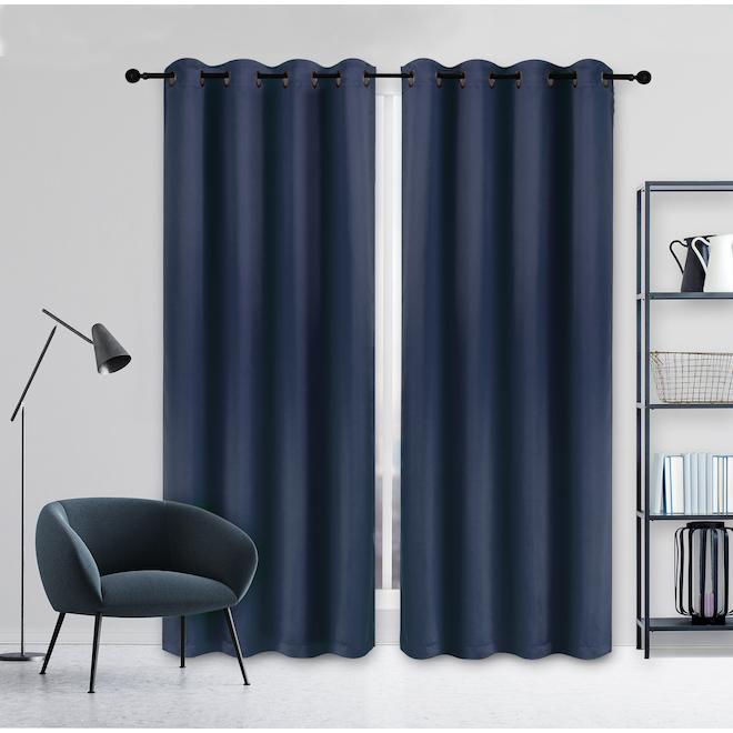 Rideau coupe-lumière Safdie & Co tissé, 54 po x 84 po, polyester, bleu marine