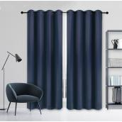 Safdie & Co Blackout Woven Curtain - 54-in x 84-in - Polyester - Navy Blue