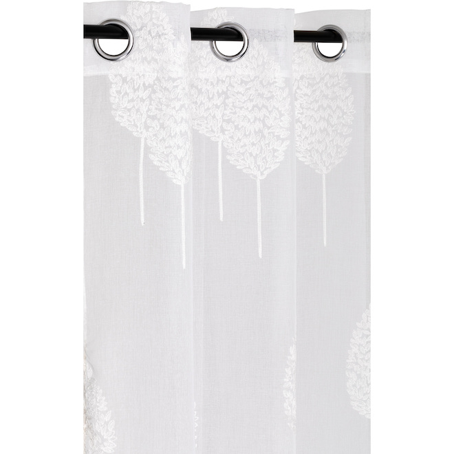 Traditional Double Leaf Embroidered Curtain - Polyester 52-in x 84-in White