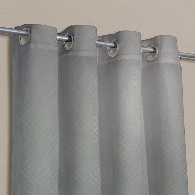 Safdie & Co Blackout Curtain Panels - Jacquard - 54-in x 84-in - Two-Tone Grey - Set of 2
