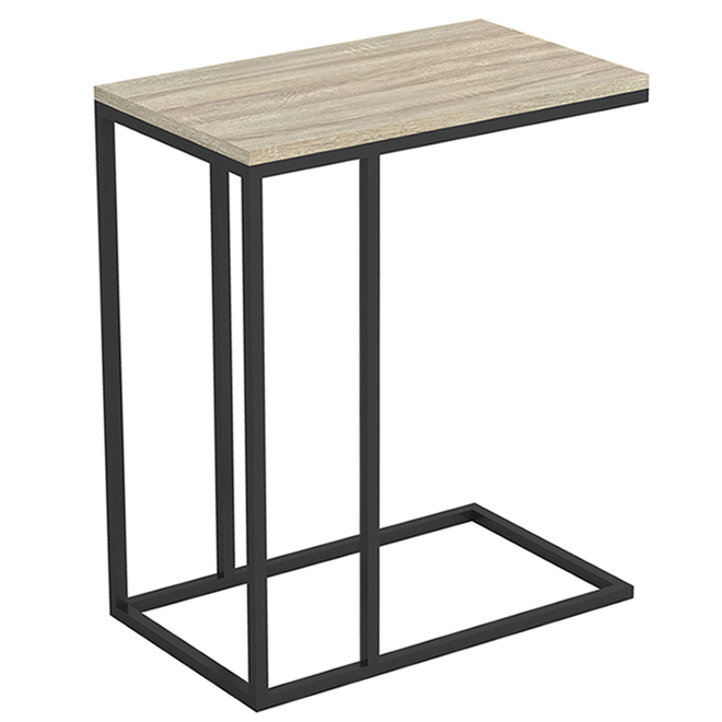 Safdie & Co C-Shaped Accent Table - 20-in x 12-in x 24-in - Wood/Metal - Dark Taupe/Black