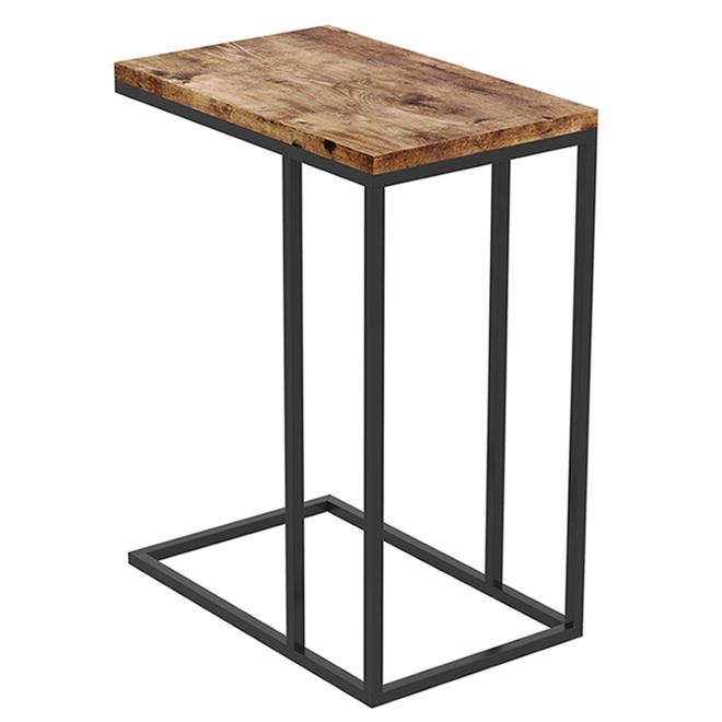 Safdie & Co C-Shaped Accent Table - 20-in x 12-in x 24-in - Wood/Metal - Brown/Black