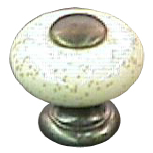 Metal Knob and Ceramic Burnished Brass and Oatmeal