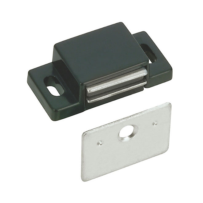 Magnetic Catch with Plate - 32 mm - Black