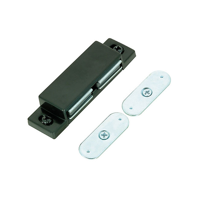 Double Magnetic Latch with Plates - 64 mm - Black