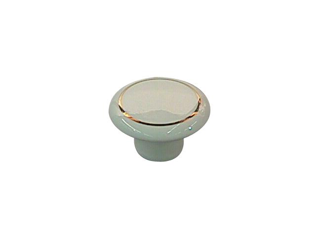 Ceramic Knob White and Brass