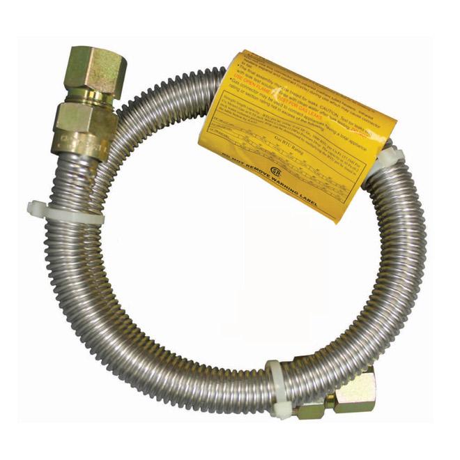 """Gas Connector - Dryer - 3/8"""" x 1/2"""" x 36"""" - FIP x FIP"""
