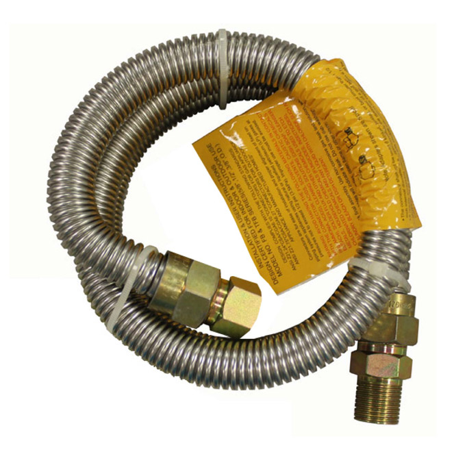 "Gas Connector - Dryer - 1/2"" x 3/8"" x 48"" - MIP x FIP"