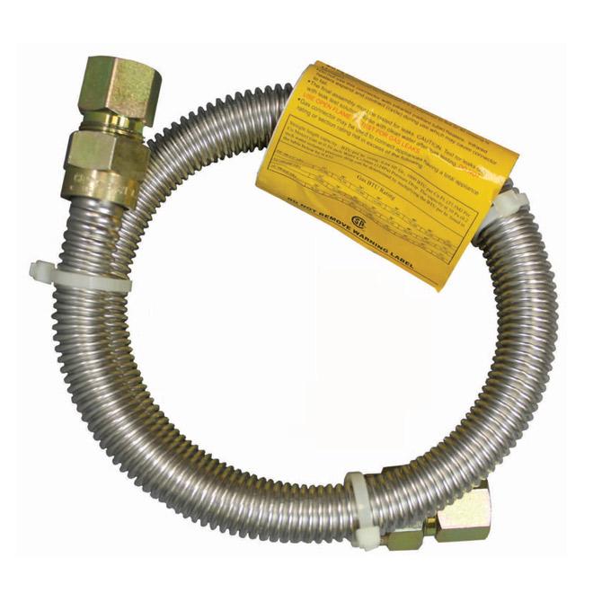 """Gas Connector - Dryer - 3/8"""" x 1/2"""" x 48"""" - FIP x FIP"""