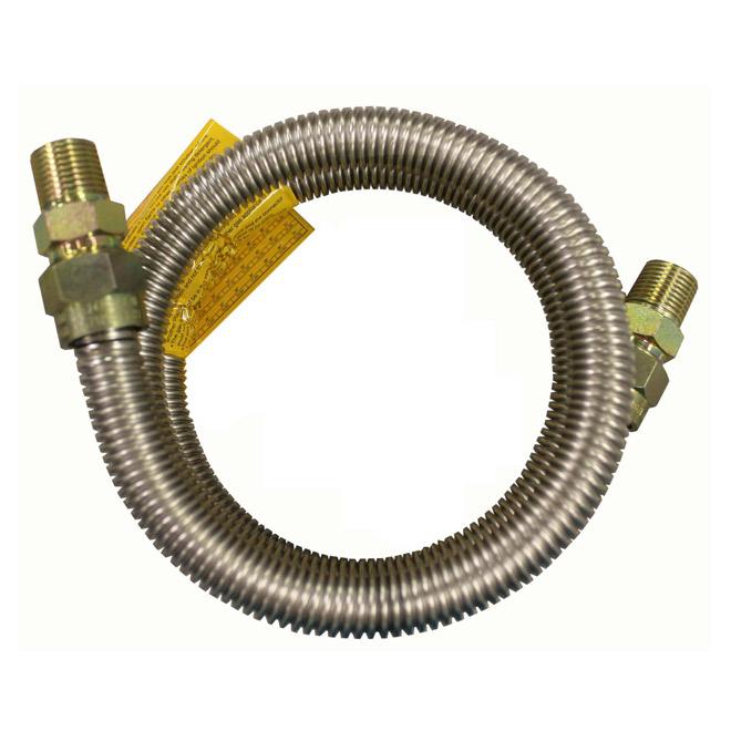 """Connecteur pour gaz, cuisinière, 1/2"""" x 1/2"""" x 48"""", MIPxMIP"""