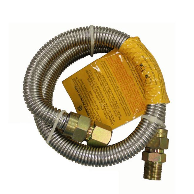 """Connecteur pour gaz, cuisinière, 1/2"""" x 1/2"""" x 48"""", MIPxFIP"""