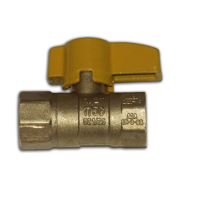 "Ball Valve for Gas - Brass - 1/2"" - 600 PSI"