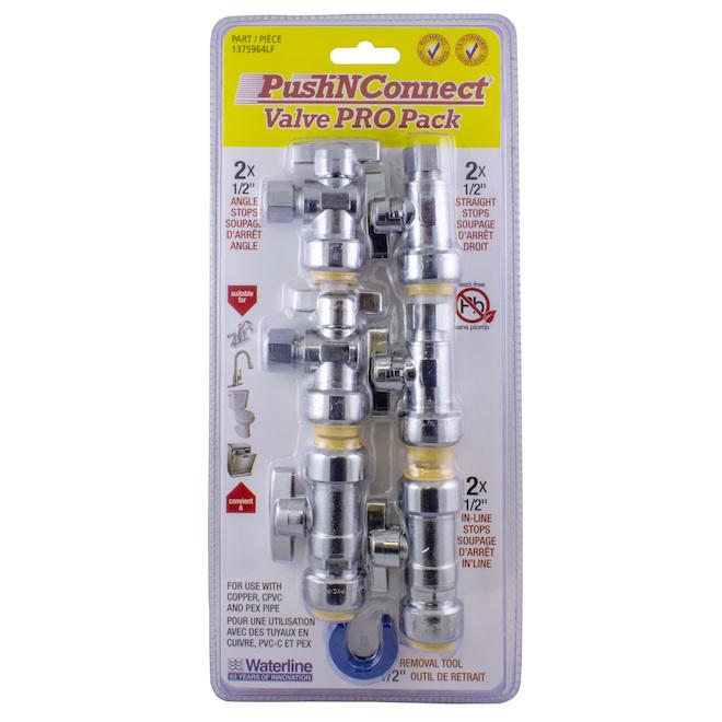 """Ensemble de valves Push-N-Connect, 1/2"""", laiton, 7 pièces"""
