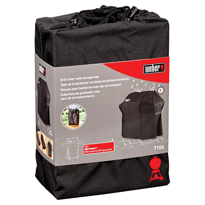 Weber Spirit 300 Gas Grill Cover - Polyester - Black