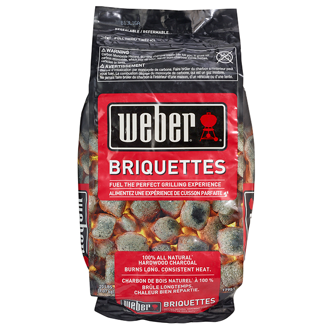 Briquettes de charbon de bois naturel Weber, 20 lb