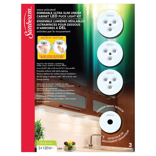 sunbeam led dimmable under cabinet puck light kit 3 pack 15788 rona rh rona ca