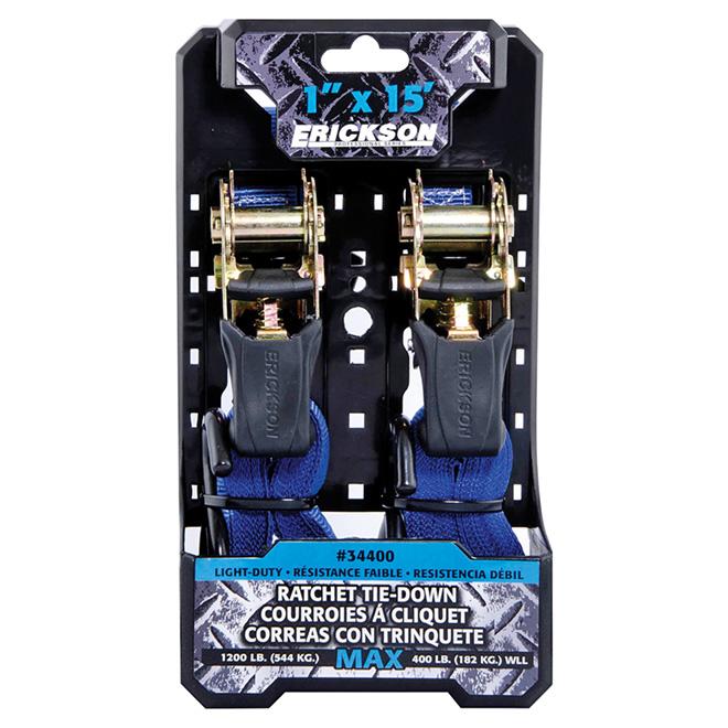 Ratchet Tie-Down - 1'' x 15' - 1200 lb - Pack of 2