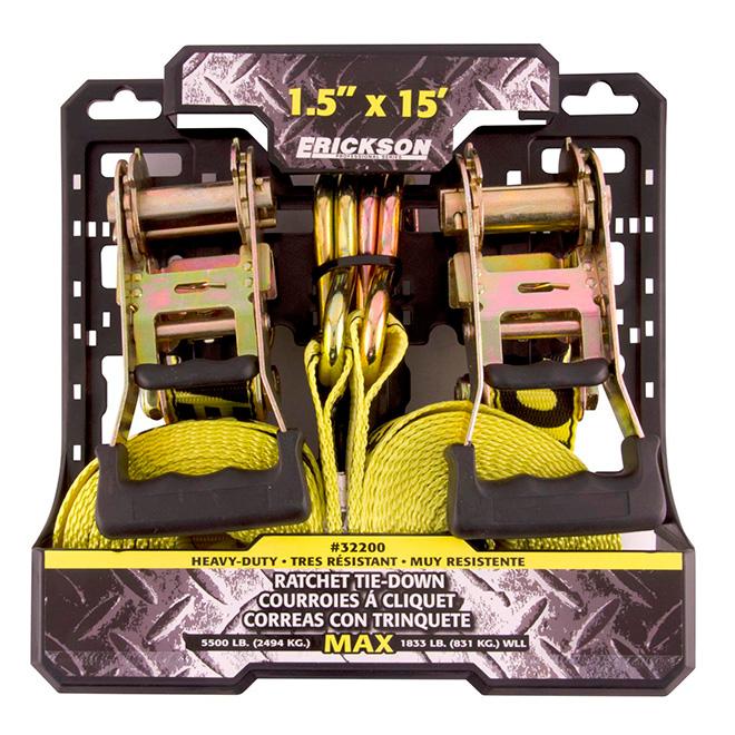 """Ratchet Strap - 1.5"""", x 15' - 5500 lb - 2/Pack"""