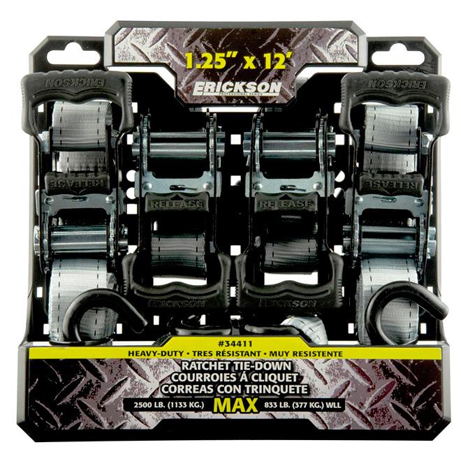 Ratchet Tie-Downs Set - 1.1/4'' x 12' - 2500 lb - 4/PK