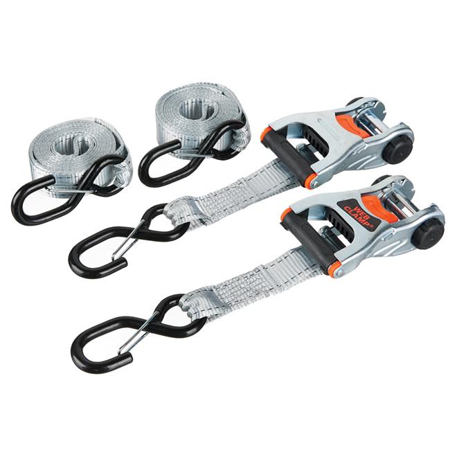 Ratchet Tie-down/Safety Snap Hook - 1 1/4'' x 12' - 2000 lb