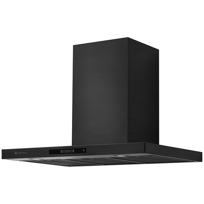 Hotte de cuisinière cheminée, 450 PCM, 30'', acier noir
