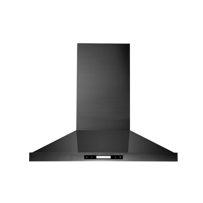 Hotte de cuisine cheminée Mistral 30 po, 450 pcm en acier inoxydable noir