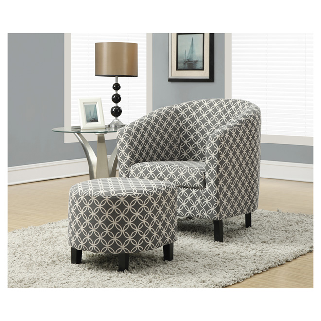 monarch accent chair with ottoman grey circular print i8060 rona