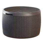 Round Storage Deck Box - Faux Rattan - 37 gal - Brown