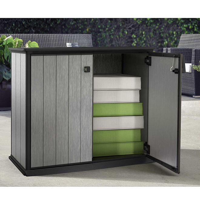 "Horizontal Resin Storage Shed - 55"" x 29"" x 47,2"" - Grey"