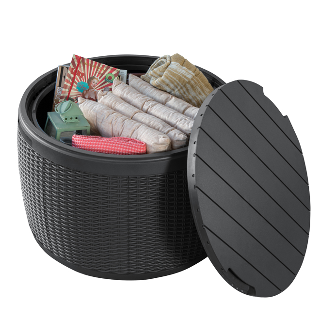 Round Storage Deck Box - Faux Rattan - 37 Gal - Dark Grey