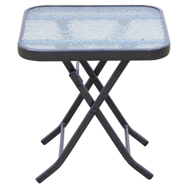 Table d'appoint pour patio, grise, 17,9 po