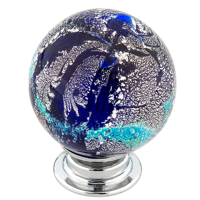 Richelieu Eclectic Knob with Patterns - Rossland - 35 mm - Grey/Blue/Cyan