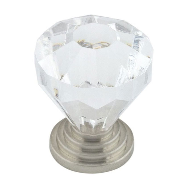 Bouton éclectique, 32 mm, transparent et nickel brossé, 10/pqt