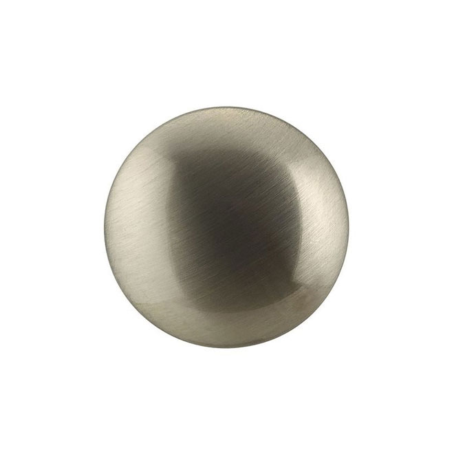 Bouton contemporain en métal, 28 mm, nickel brossé, 25/pqt