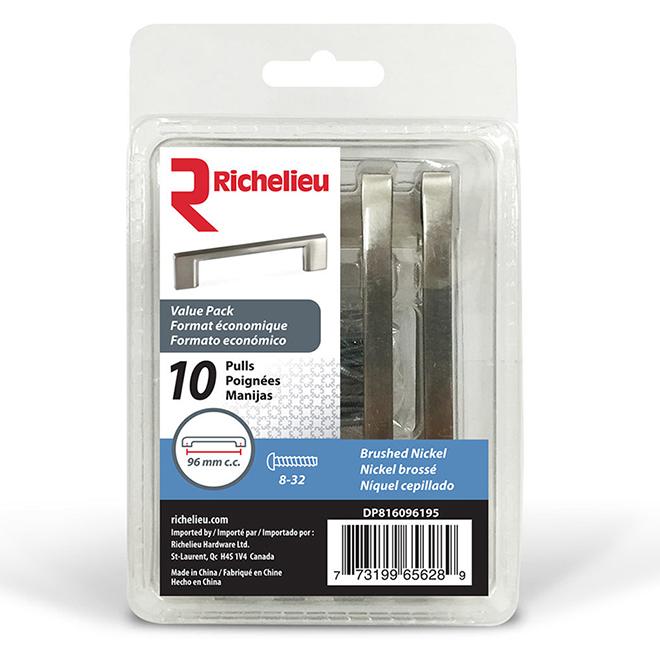 Pack of 10Metal Pulls - 113 mm - Brushed Nickel