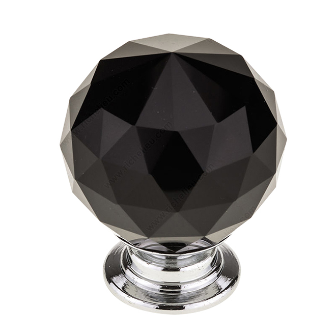 Contemporary Black Crystal Knob - 30 mm - Chrome