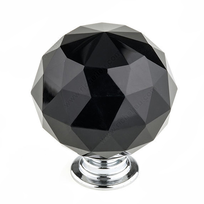 Bouton contemporain en cristal noir, 40 mm, chrome
