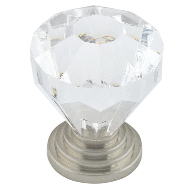 Eclectic Knob - 32 mm - Clear and Brushed Nickel