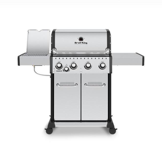 Barbecue Broil King Baron S 440 PRO IR gaz propane de 40 000 BTU, 4 brûleurs et brûleur infrarouge, acier inoxydable