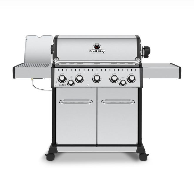 Barbecue Broil King Baron S 590 PRO IR gaz naturel de 70 000 BTU, 5 brûleurs et brûleur infrarouge, acier inoxydable