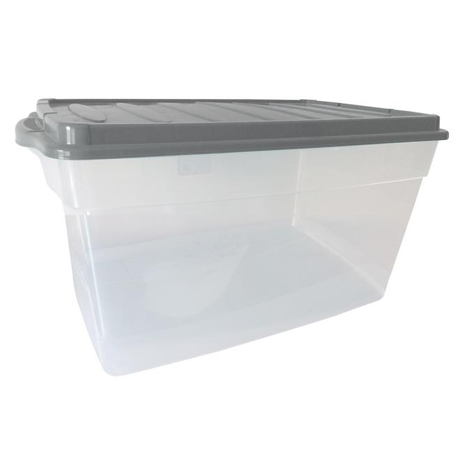 Boîte de rangement, Dura, 38,6 L plastique, transparent et gris