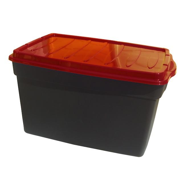 Boîte de rangement, Dura, 47 L plastique, noir et rouge