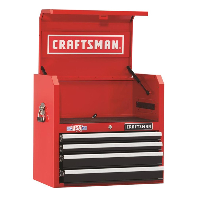 """Tool Chest - 4Drawers - 26"""" x 16"""" x 24.5"""" - Red and Black"""