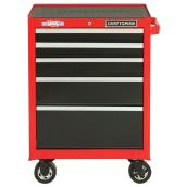 "Tool Cabinet - 5 Drawers - 26.5"" x 18"" x 37.5"" - Red/Black"