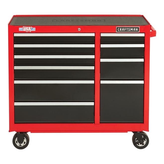 """Tool Cabinet - 10Drawers - 41"""" x 18"""" x 37.5"""" - Red and Black"""