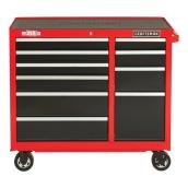 "Tool Cabinet - 10 Drawers - 41"" x 18"" x 37.5"" - Red and Black"
