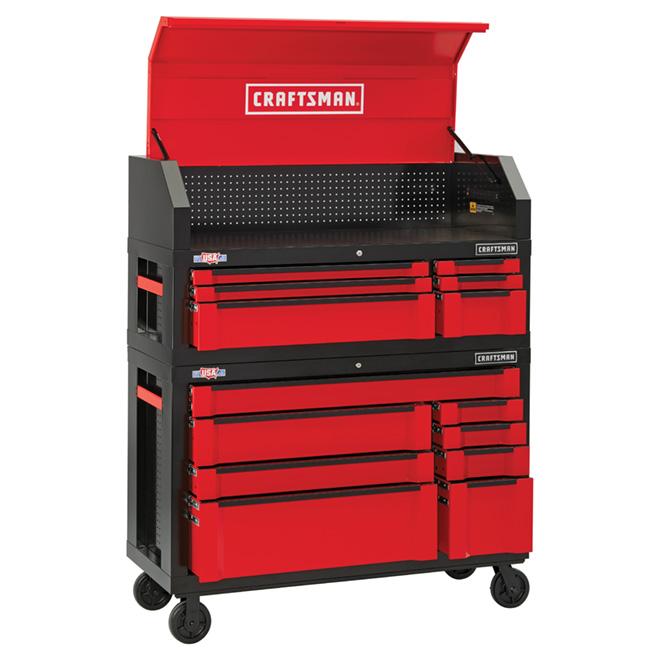 Coffre/armoire à outils, 8 tiroirs, 54'', rouge et noir