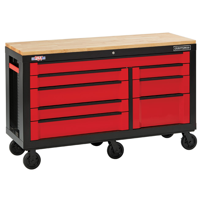 """Tool Cabinet - 8 Drawers - 63"""" - Red and Black"""